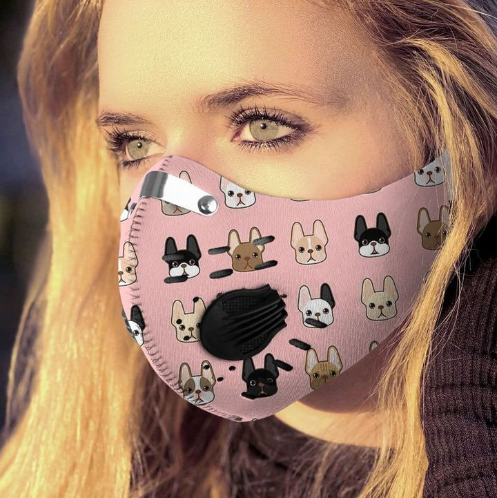 French bulldog pattern filter activated carbon face mask 2