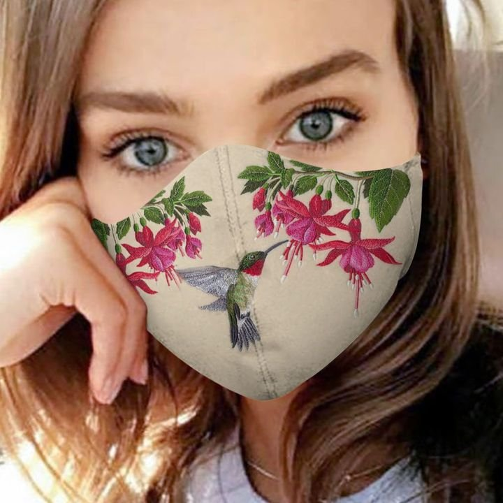 Hummingbird flower anti-dust cotton face mask 1