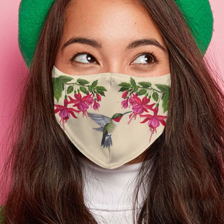 Hummingbird flower anti-dust cotton face mask 2