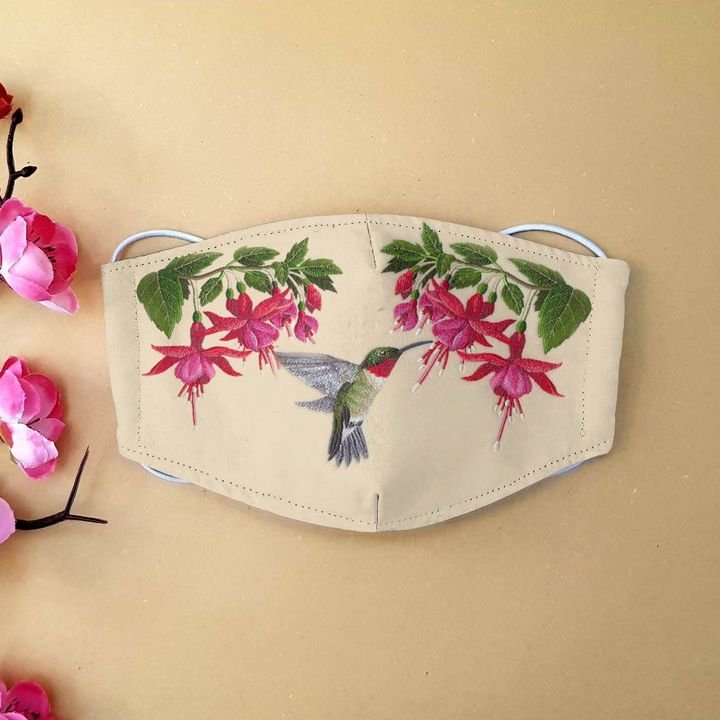 Hummingbird flower anti-dust cotton face mask 4