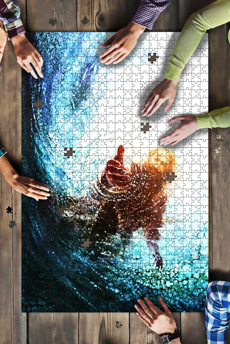 Jesus reaching into water the hand of God jigsaw puzzle 1