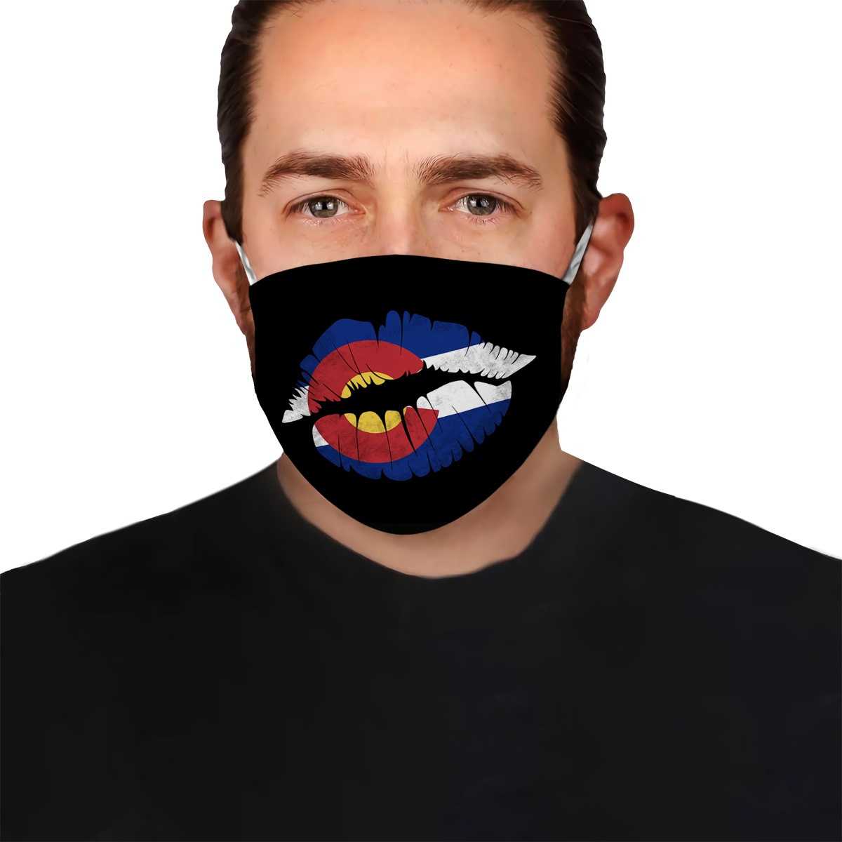Kiss lips colorado state flag anti-dust cotton face mask 1