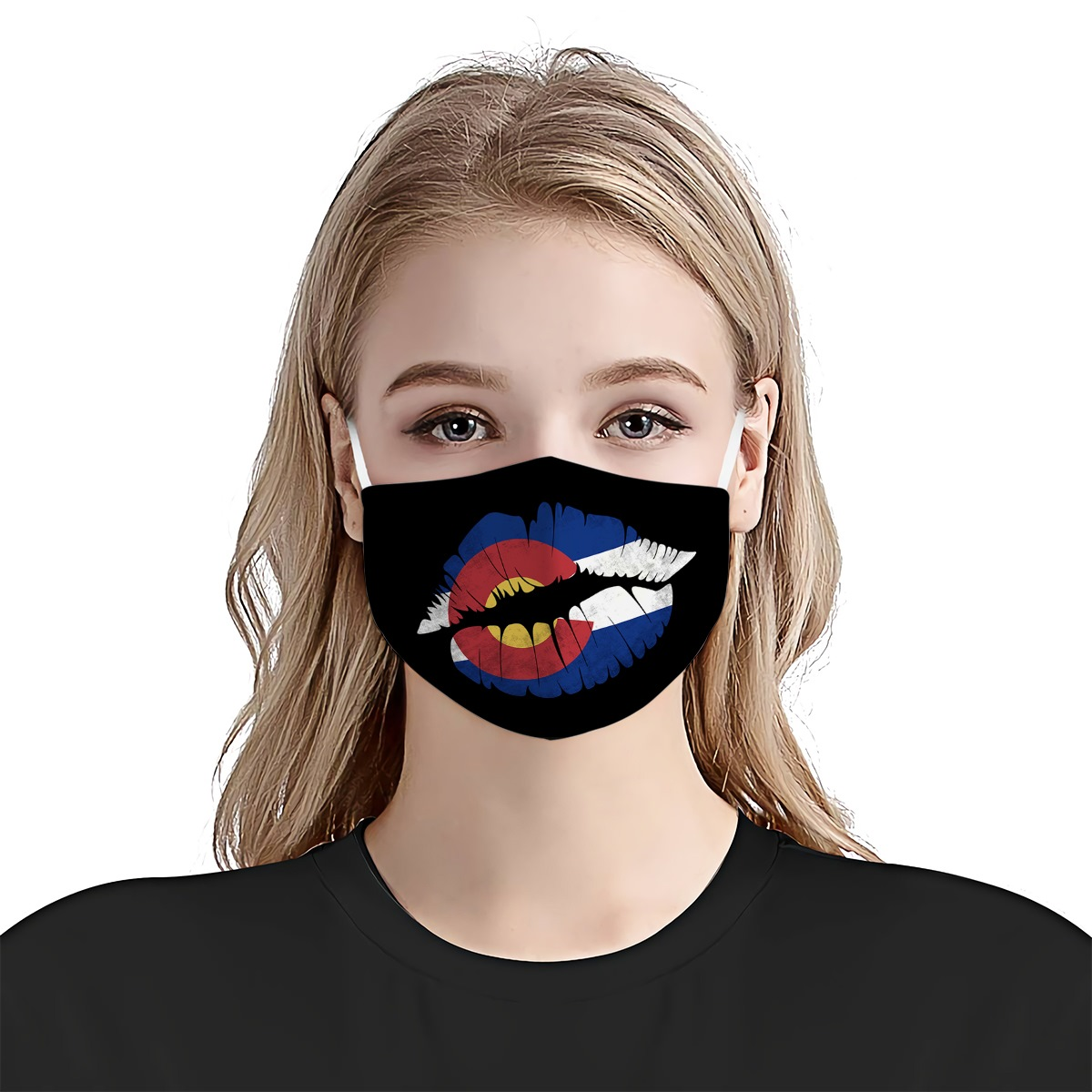 Kiss lips colorado state flag anti-dust cotton face mask 3