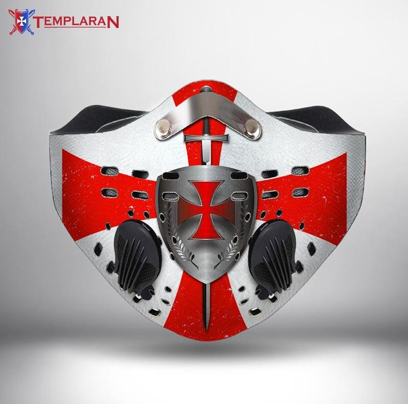 Knights templar cross symbols filter activated carbon face mask 2