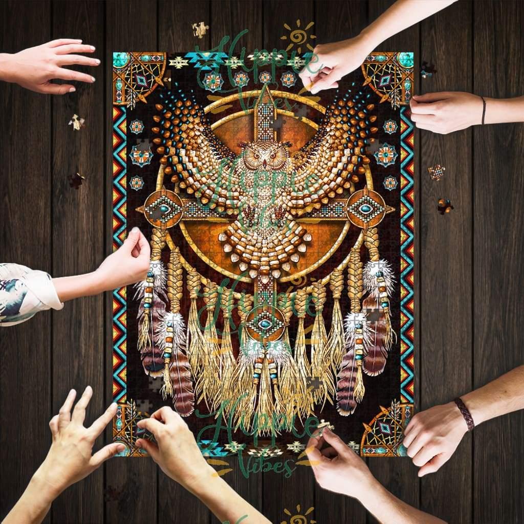 Native american great horned owl mandala jigsaw puzzle 4