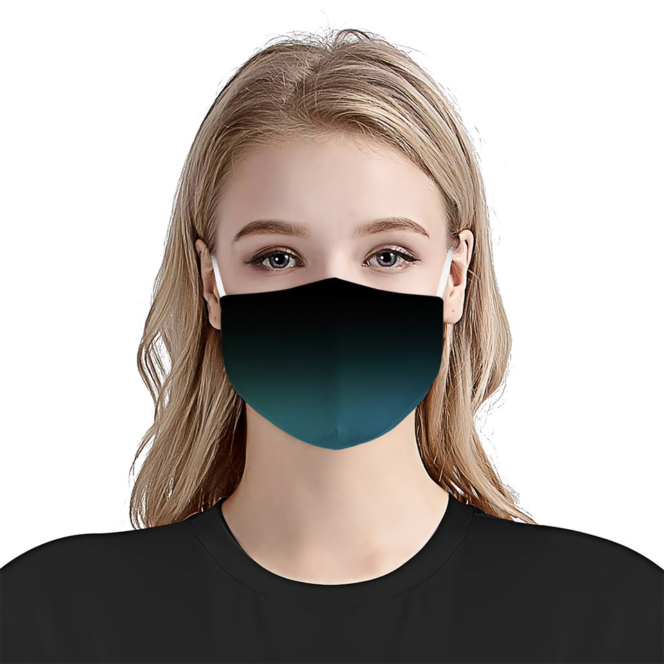 Ombre deep blue colorful anti-dust cotton face mask 3