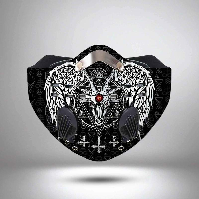 Satanic wings symbols filter activated carbon face mask 2