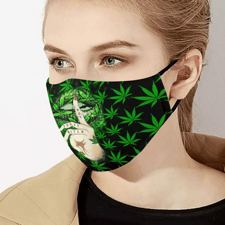 Sexy lips cannabis not today anti-dust cotton face mask 2