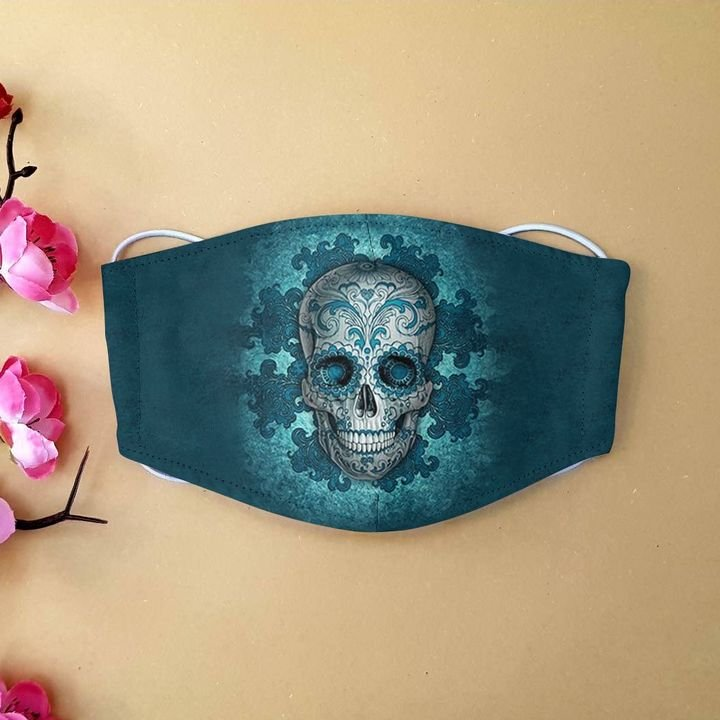 Sugar skull day of the dead mexico anti-dust cotton face mask 1
