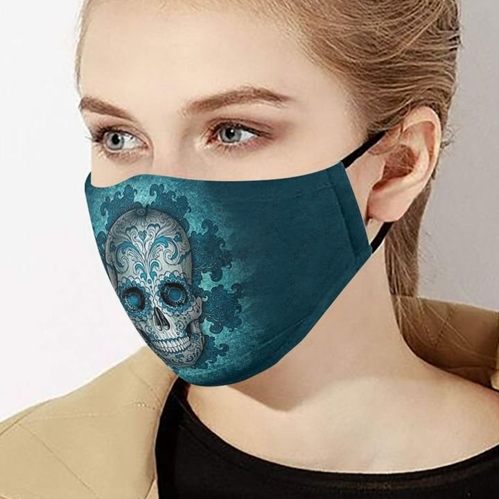 Sugar skull day of the dead mexico anti-dust cotton face mask 2