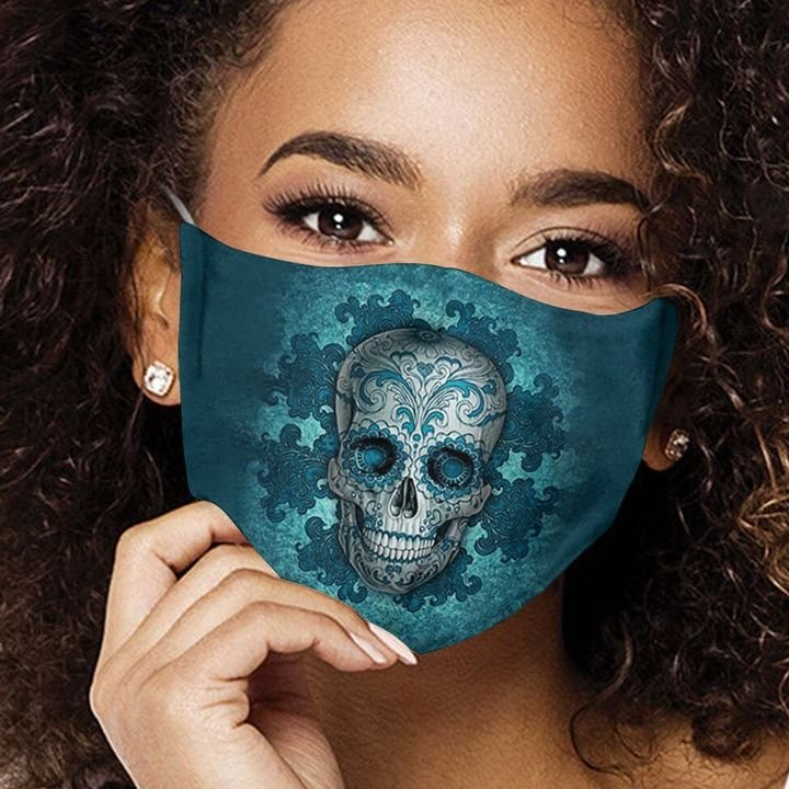 Sugar skull day of the dead mexico anti-dust cotton face mask 4