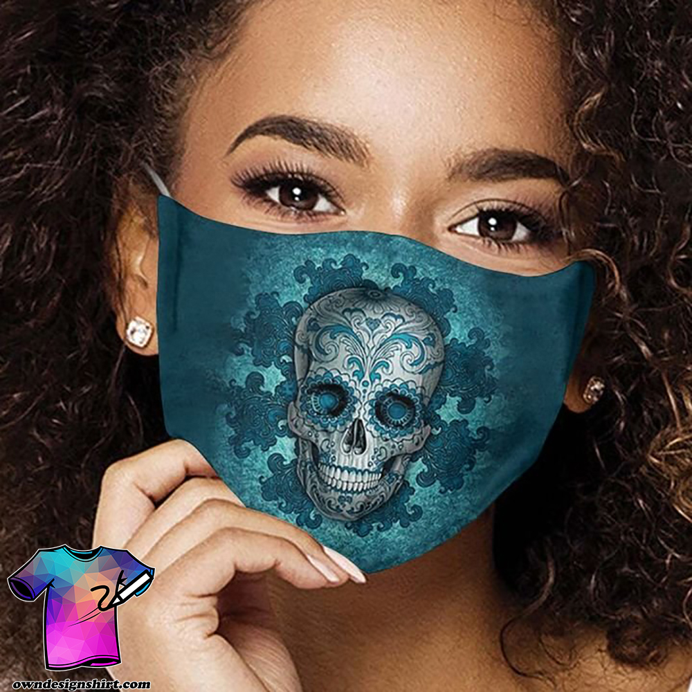 Sugar skull day of the dead mexico anti-dust cotton face mask