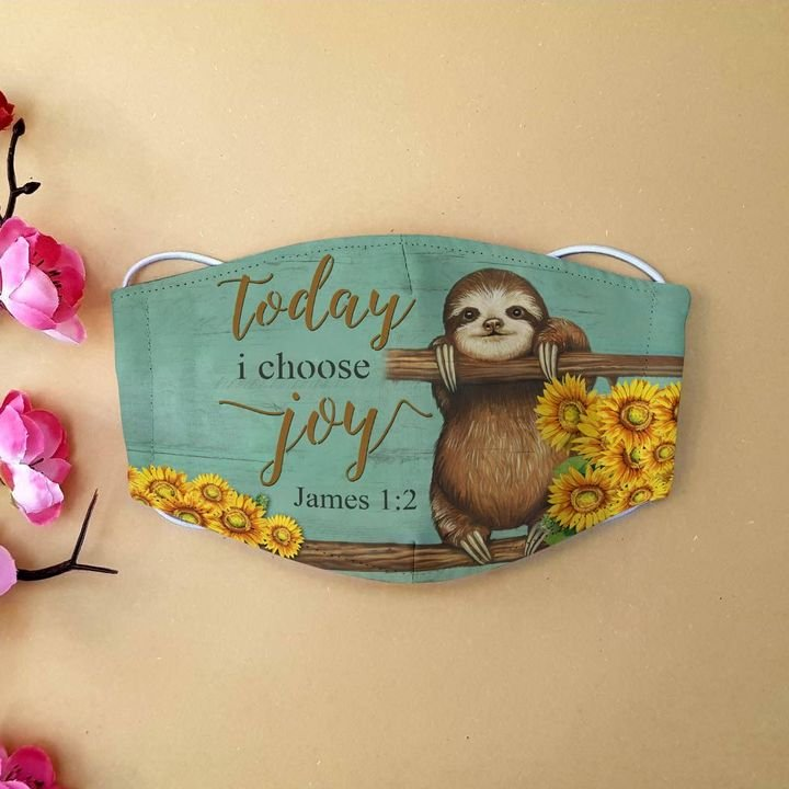 Sunflower sloth today i choose joy cotton face mask 1