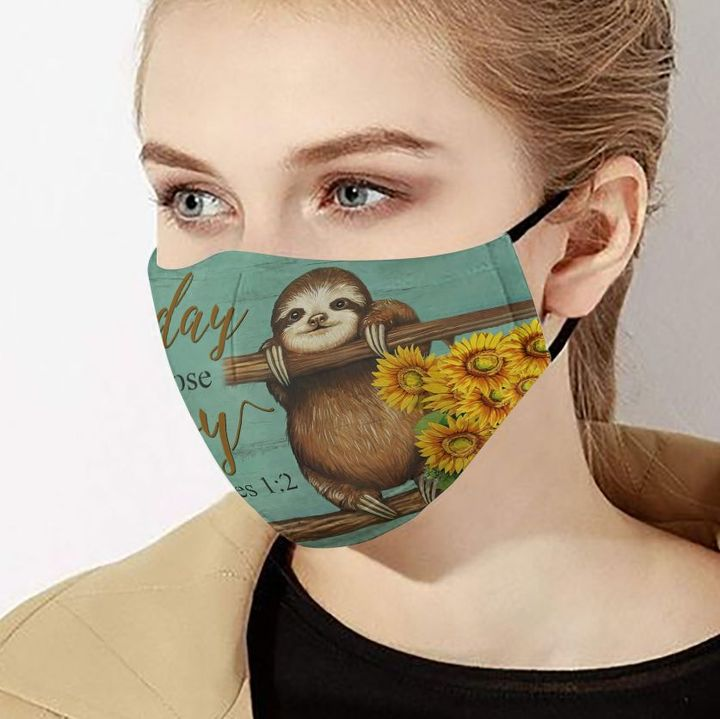 Sunflower sloth today i choose joy cotton face mask 4