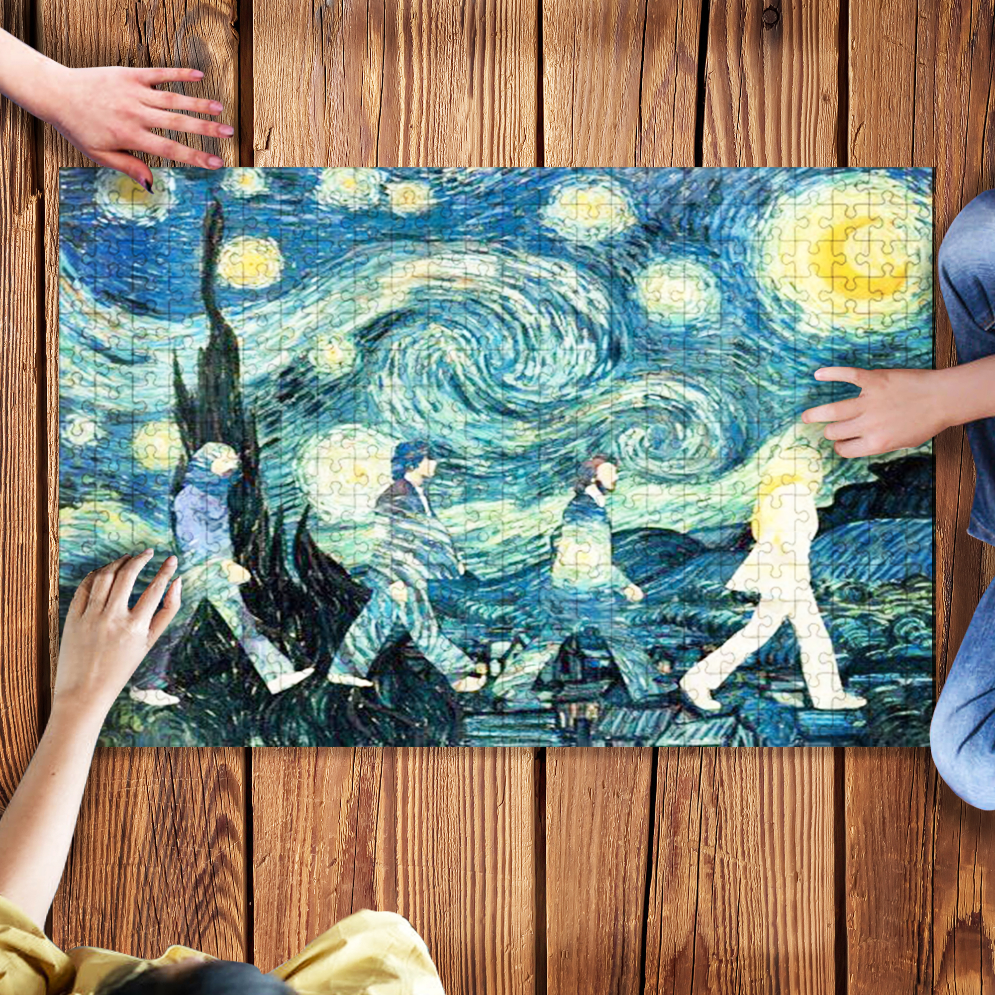The beatles walking across abbey road vincent van gogh starry night jigsaw puzzle 2