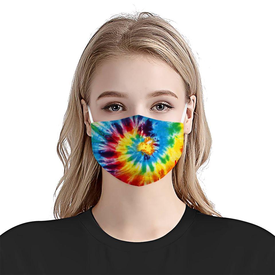 Tie dye colorful vintage anti-dust cotton face mask 4