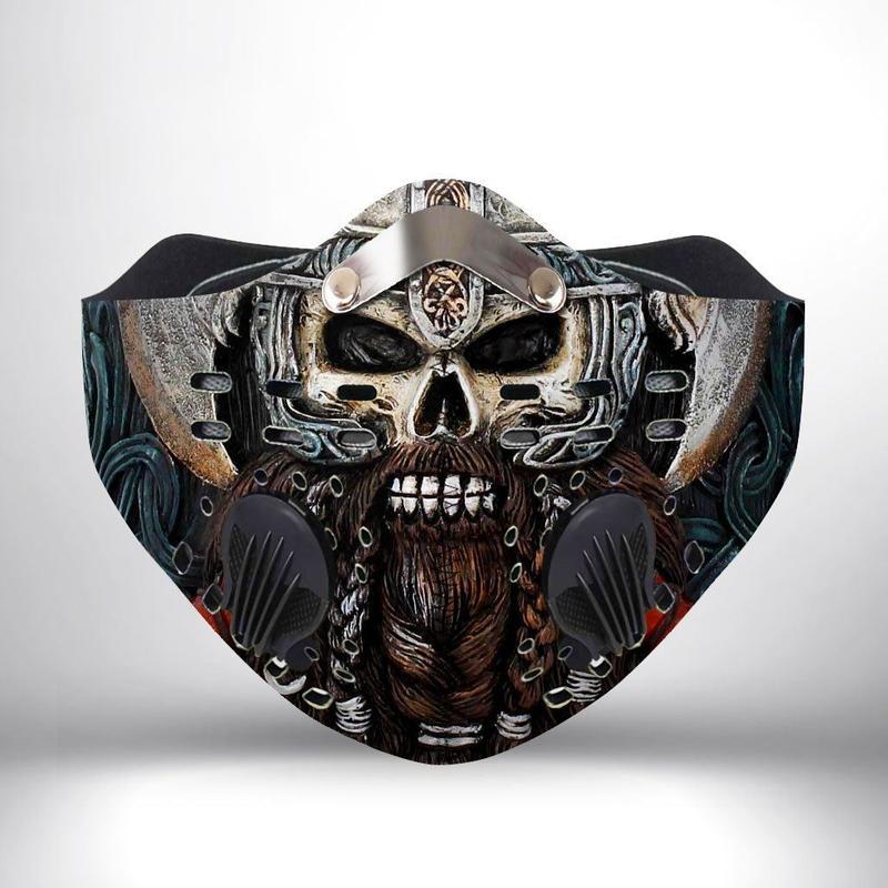 Viking warrior skull filter activated carbon face mask 2