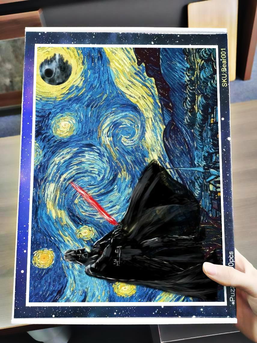 Vincent van gogh starry night darth vader star wars jigsaw puzzle 3