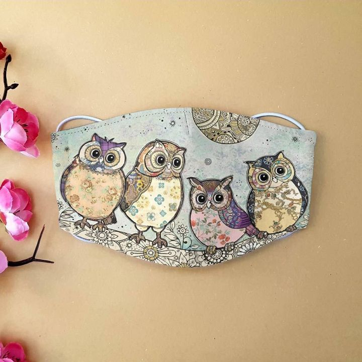 Vintage moonlight owl anti-dust cotton face mask 4