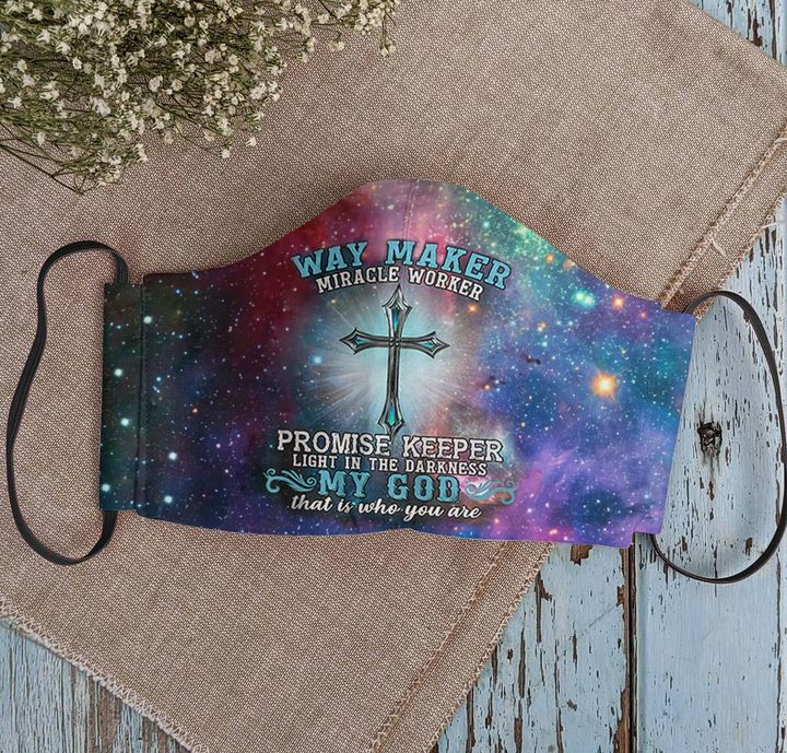 Way maker miracle worker promise keeper light in the darkness my God cotton face mask 2