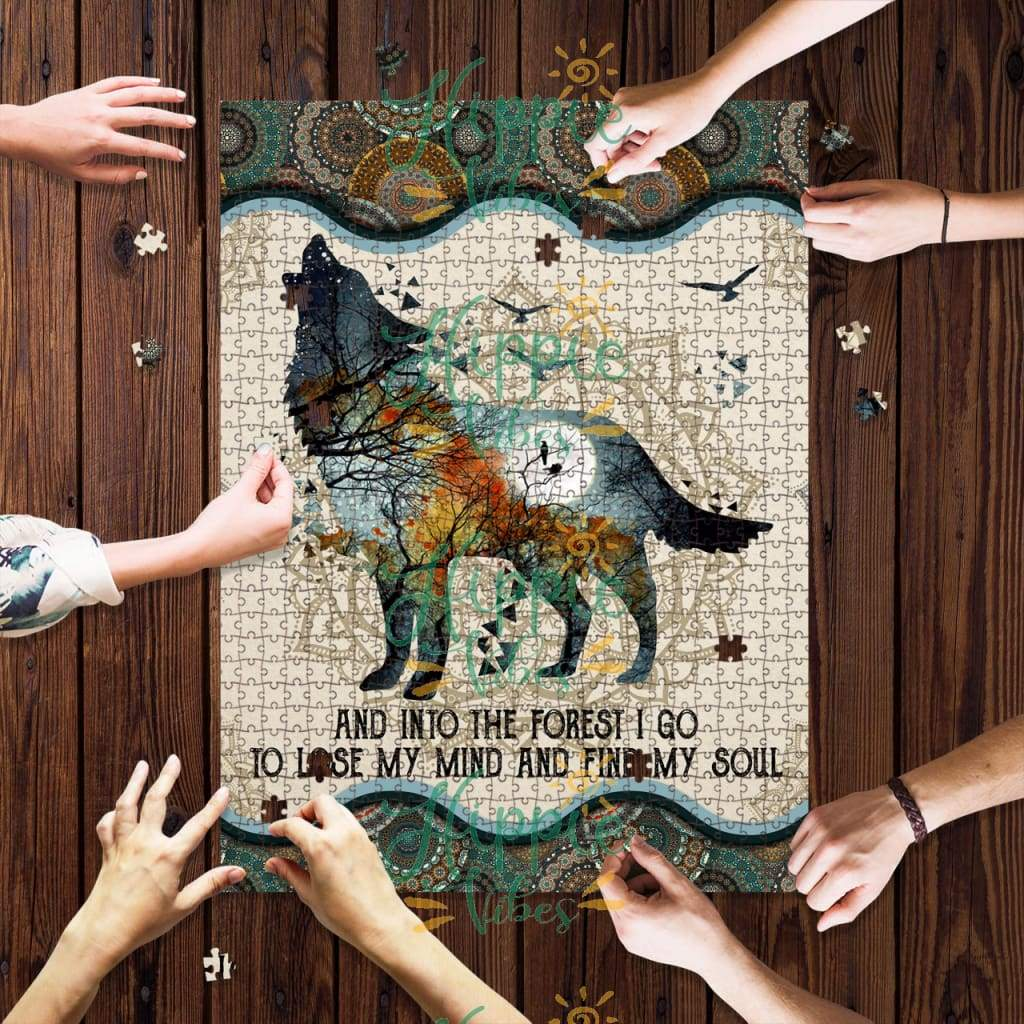 Wolf and into the forest i go to lose my mind and find my soul mandala jigsaw puzzle 1