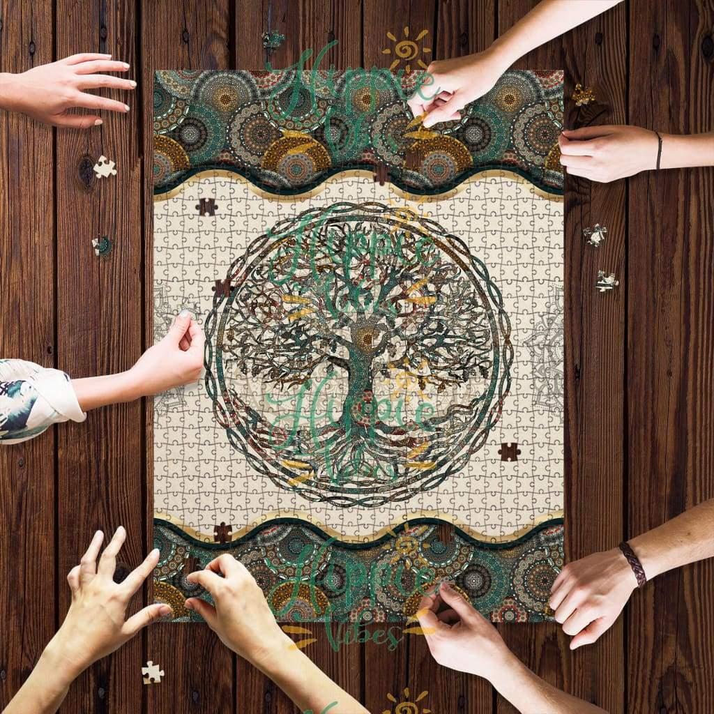 Yoga tree of life mandala jigsaw puzzle 3