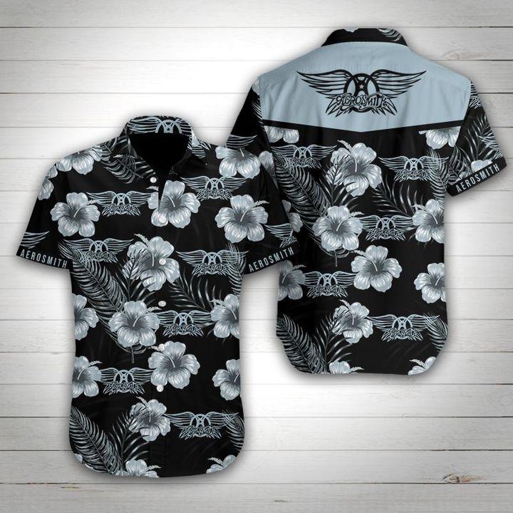 Aerosmith tropical flower hawaiian shirt 1