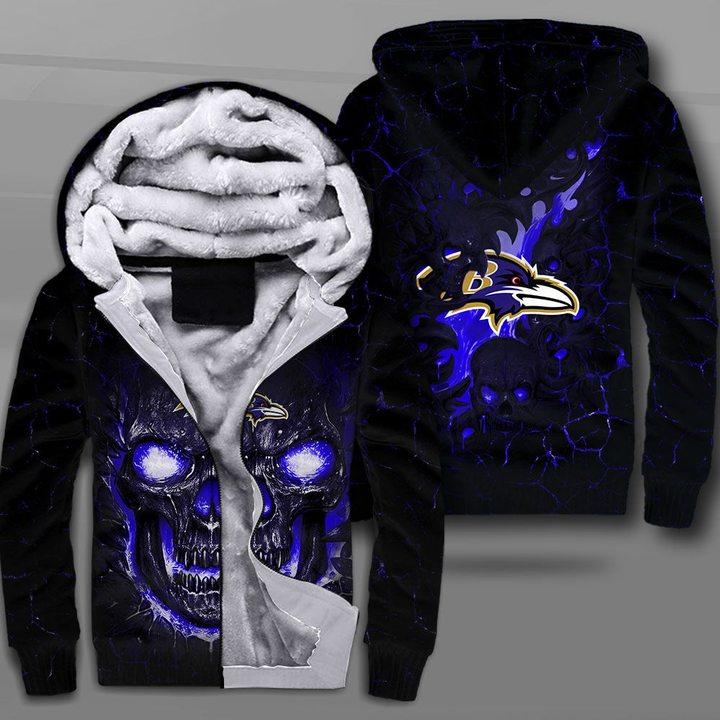 Baltimore ravens lava skull full printing fleece hoodie