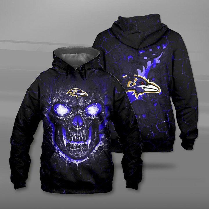 Baltimore ravens lava skull full printing hoodie