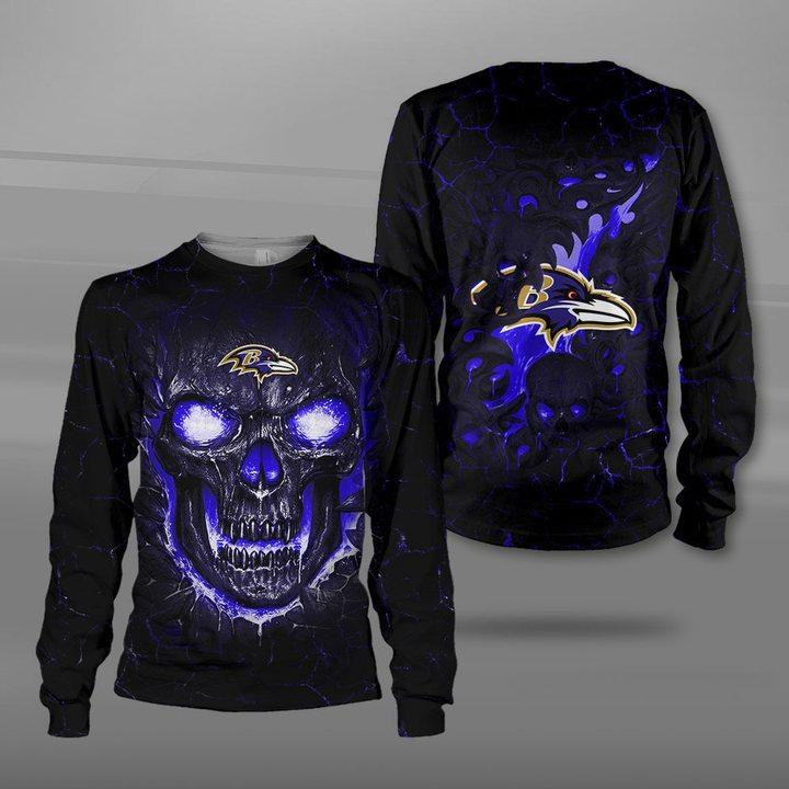 Baltimore ravens lava skull full printing sweatshirt