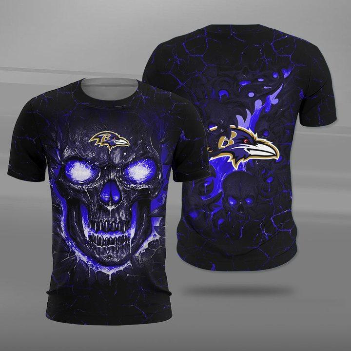 Baltimore ravens lava skull full printing tshirt