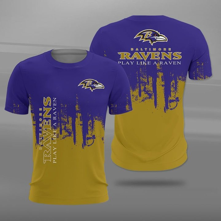 Baltimore ravens play like a raven full printing tshirt