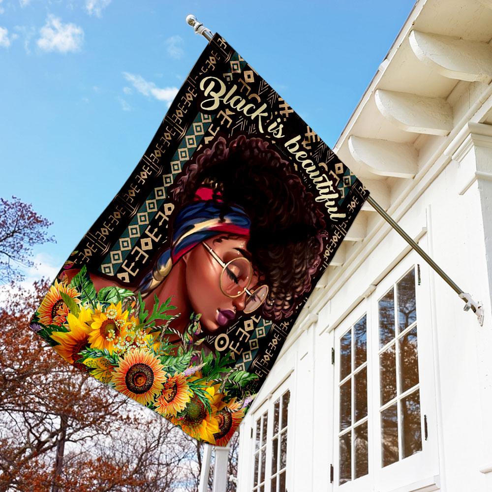 Black is beautiful black woman flag 1