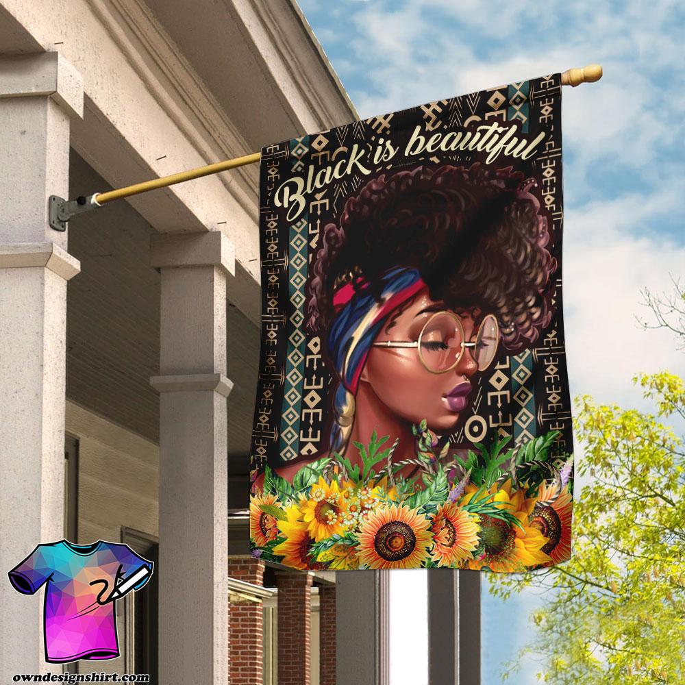 Black is beautiful black woman flag