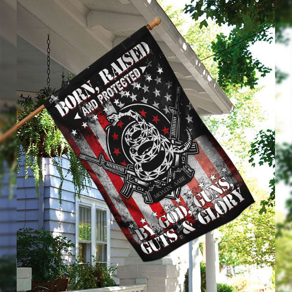 Born raised and protected by god guns guts and glory 2nd amendment flag 2