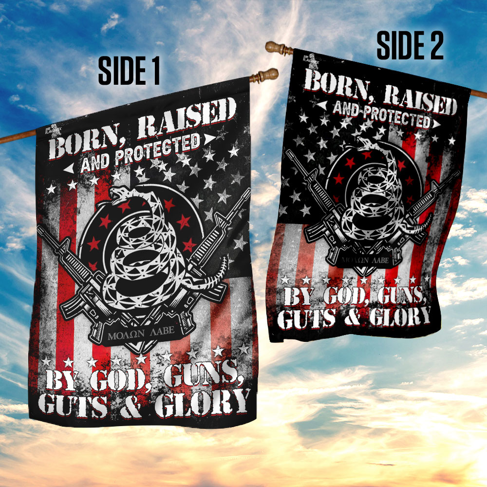 Born raised and protected by god guns guts and glory 2nd amendment flag 3