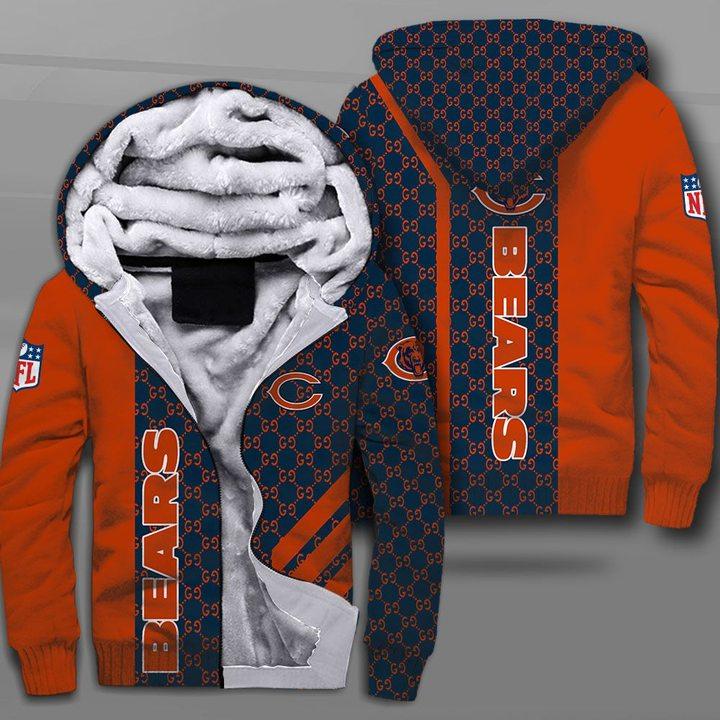 Chicago bears football team full printing fleece hoodie