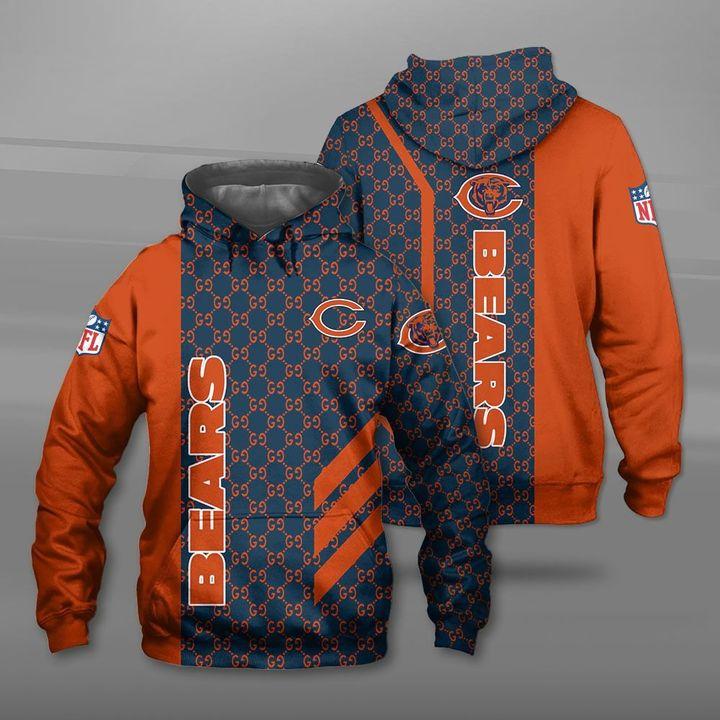 Chicago bears football team full printing hoodie