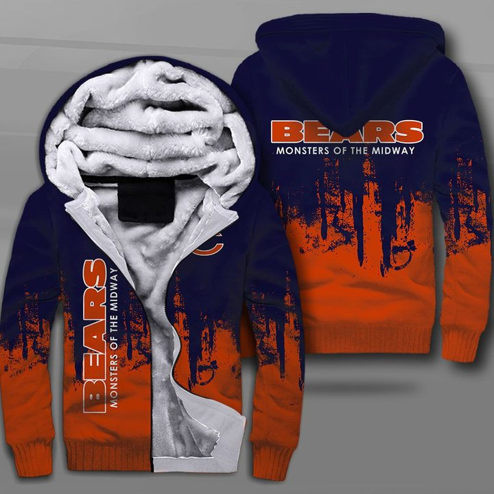 Chicago bears monsters of the midway full printing fleece hoodie