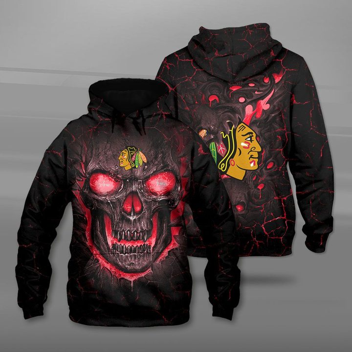 Chicago blackhawks lava skull full printing hoodie