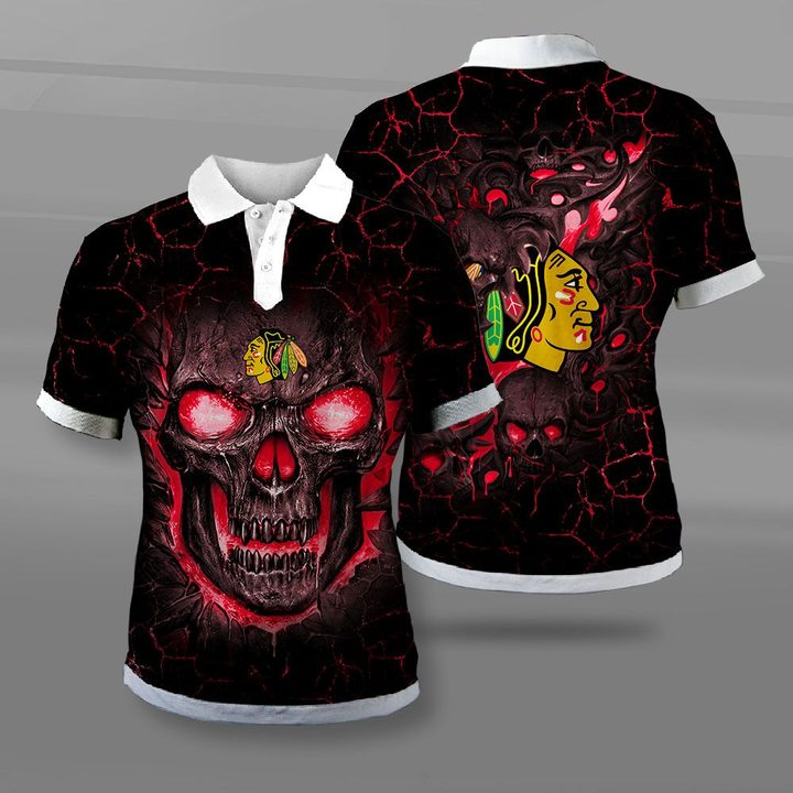Chicago blackhawks lava skull full printing polo
