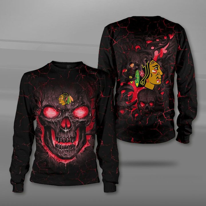 Chicago blackhawks lava skull full printing sweatshirt