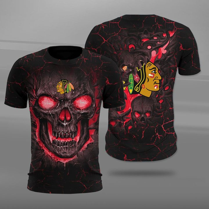 Chicago blackhawks lava skull full printing tshirt