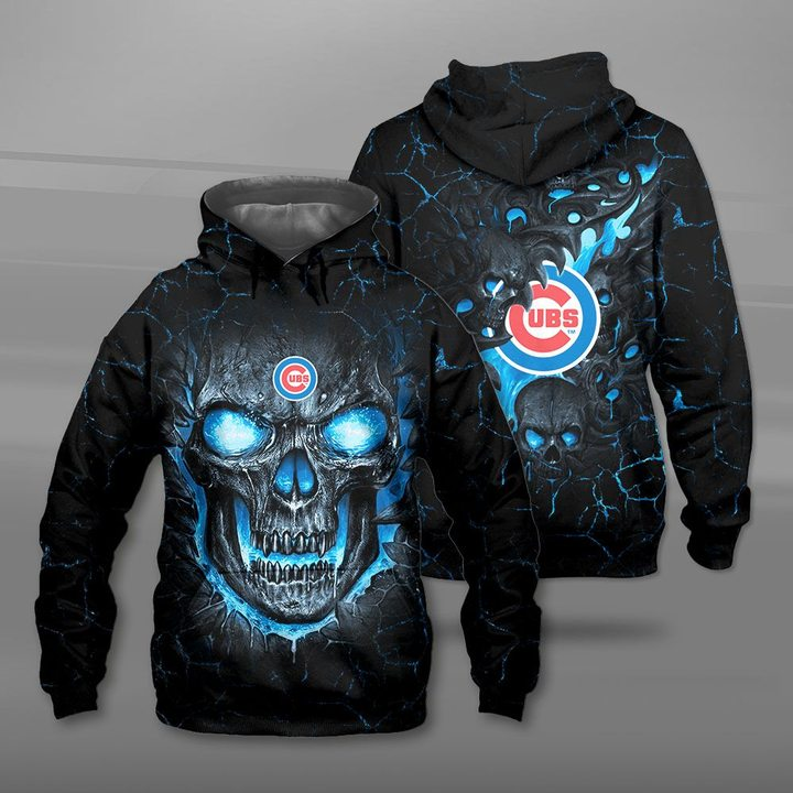 Chicago cubs lava skull full printing hoodie