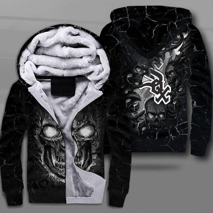 Chicago white sox lava skull full printing fleece hoodie