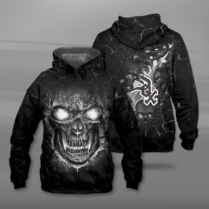 Chicago white sox lava skull full printing hoodie