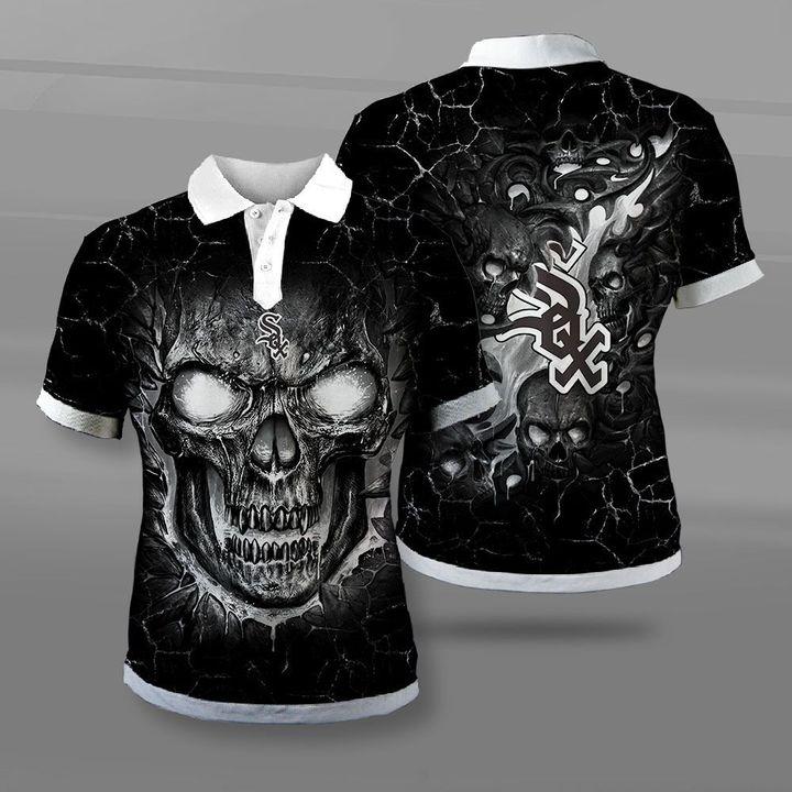 Chicago white sox lava skull full printing polo
