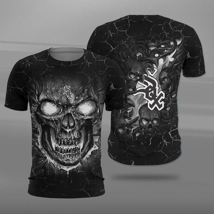 Chicago white sox lava skull full printing tshirt