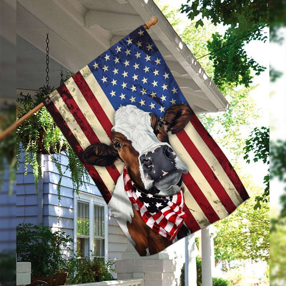 Cow cattle happy 4th of july american flag 2