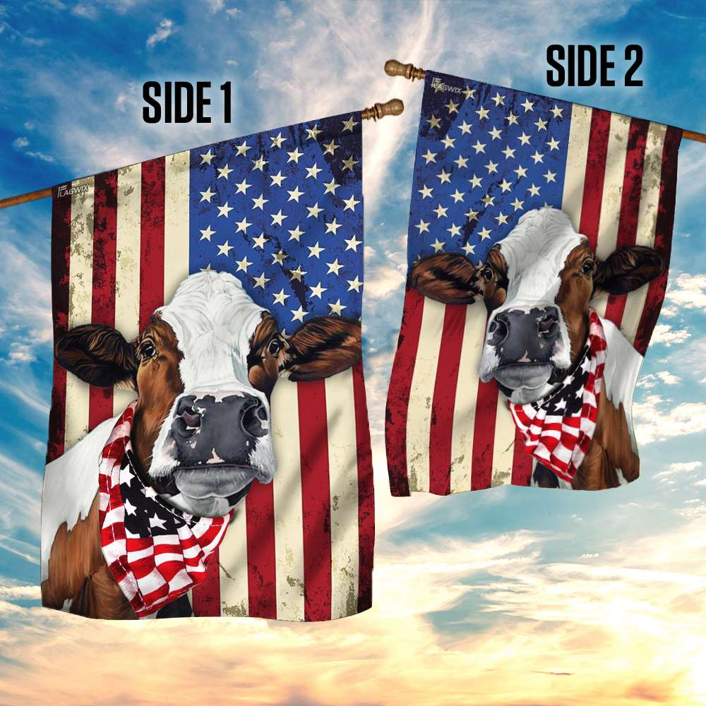 Cow cattle happy 4th of july american flag 4